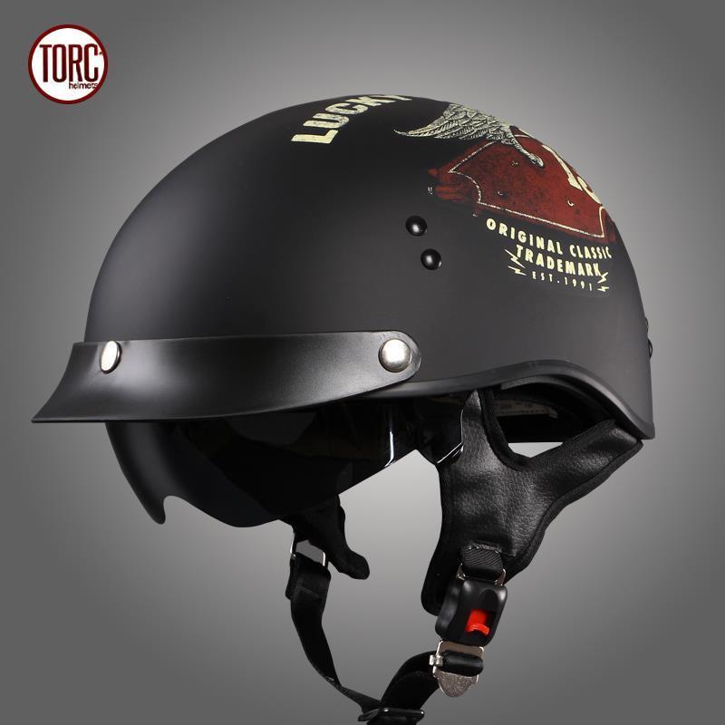 TORC-T55摩托車頭灰安全帽復古機車半盔踏板車太子盔瓢盔夏季男女