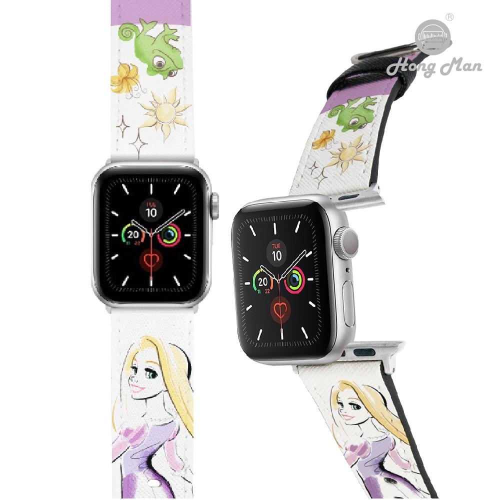【迪士尼】Hong Man 迪士尼公主系列 Apple Watch 皮革錶帶 手繪風樂佩
