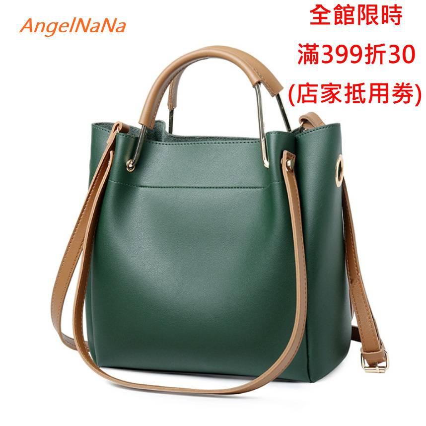 【AngelNaNa】側背包-高質感簡約純色百搭3way水桶包手提包斜背包 (SBA0321)