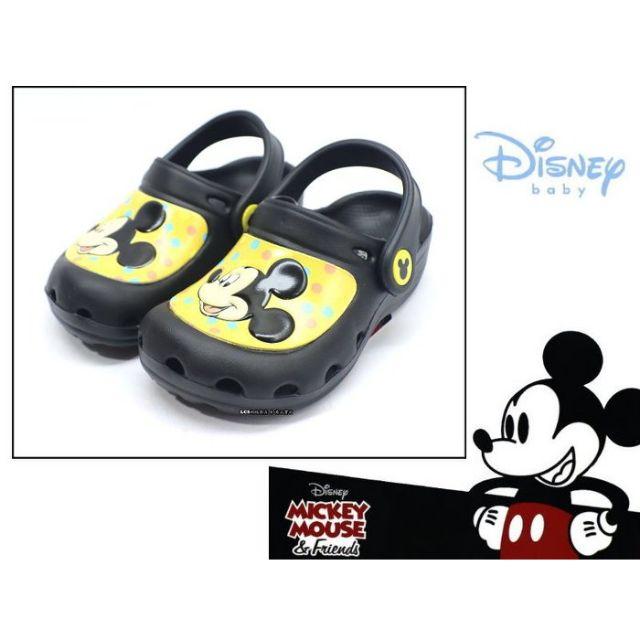 迪士尼DISNEY 米老鼠米奇卡通圖案兒童休閒布希涼鞋/洞洞鞋 (117006B 黑)