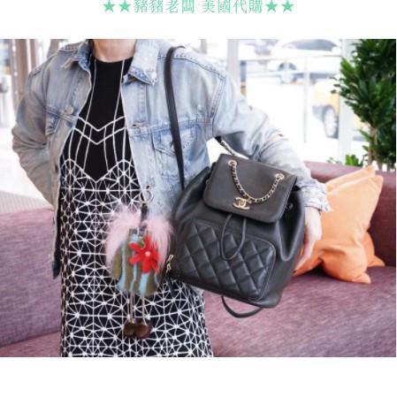 Chanel A93748 Backpack 荔枝紋後背包 黑金鍊讓豬豬