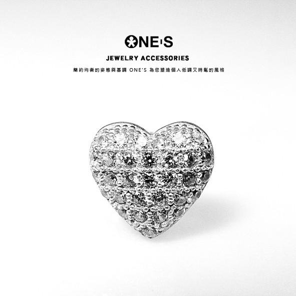 ONE'S 925純銀珠寶鑲心形鋯石耳環 顯微鑲嵌 心形 愛心 鋯石 珠寶鑲 基本款 純銀包白金 耳環 O4-12-14