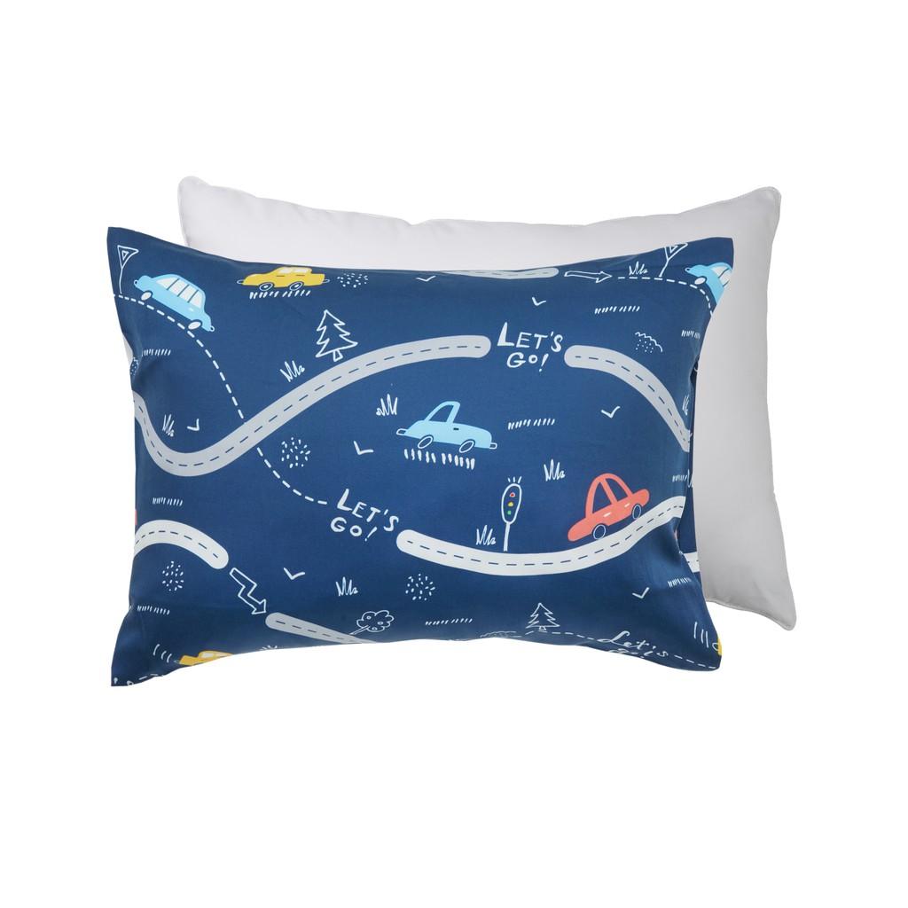 享居DOTDOT 兒童天絲枕頭枕套組 (車車世界) 防螨抗菌 天絲表布 60支萊賽爾 舒適支撐(建議1歲以上)