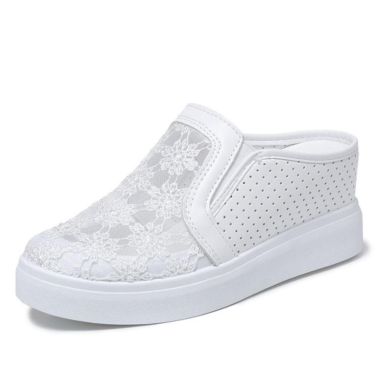 女鞋鞋女夏2020新款韓版百搭無后跟懶人鞋包頭鏤空蕾絲網鞋樂福鞋