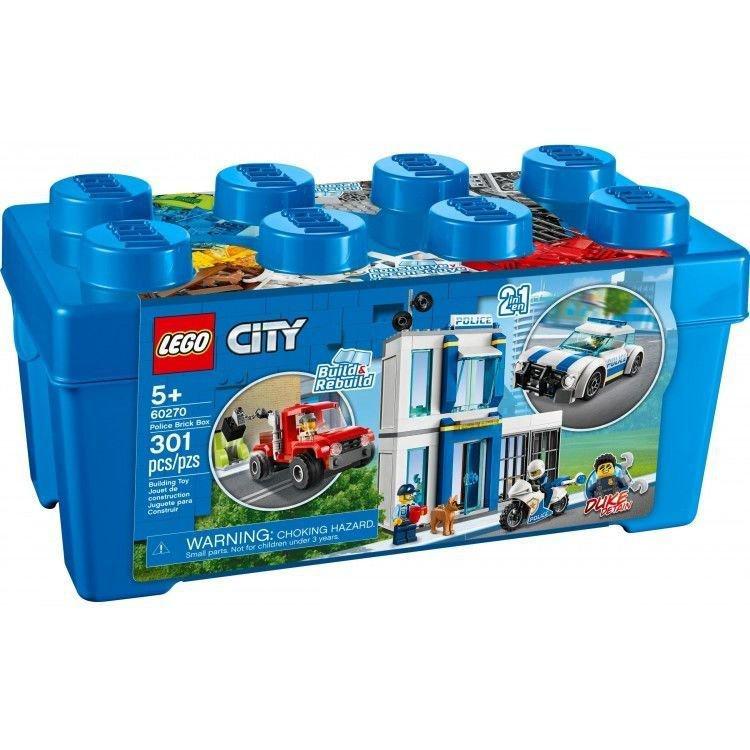 LEGO樂高積木玩具 CITY城市系列60270警察積木箱 收納桶 藍色