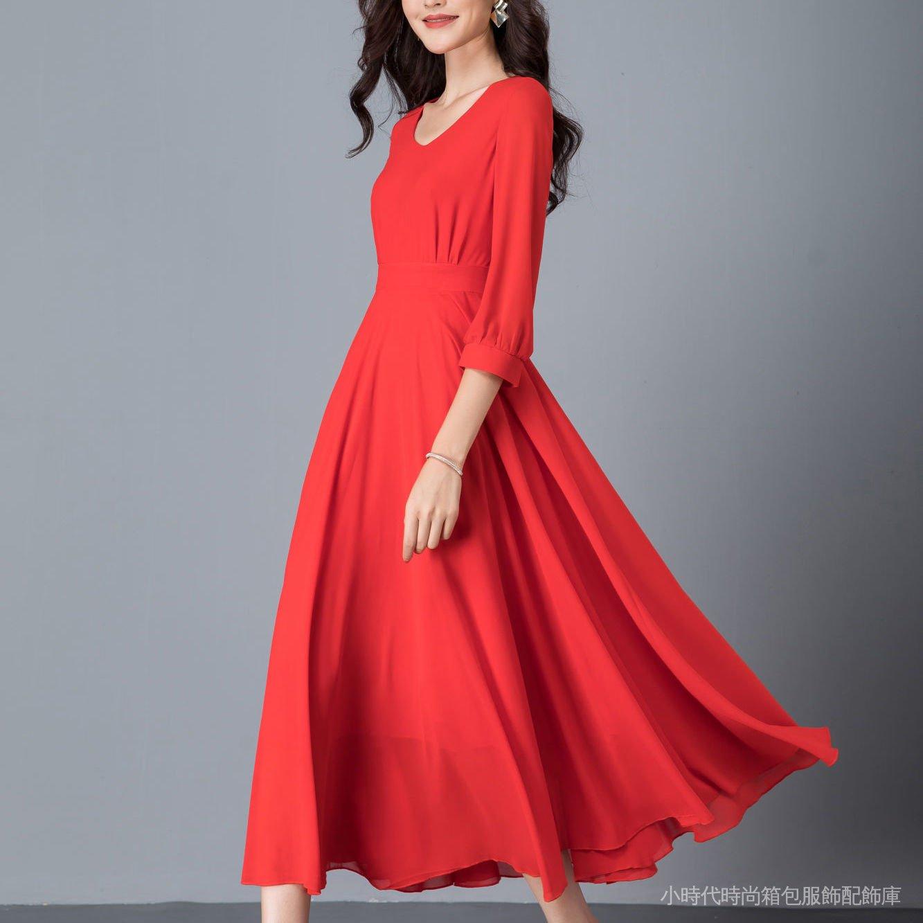 清新自然雪紡新顯瘦時尚度假2021沙灘雙層簡約長款A型修身連衣裙