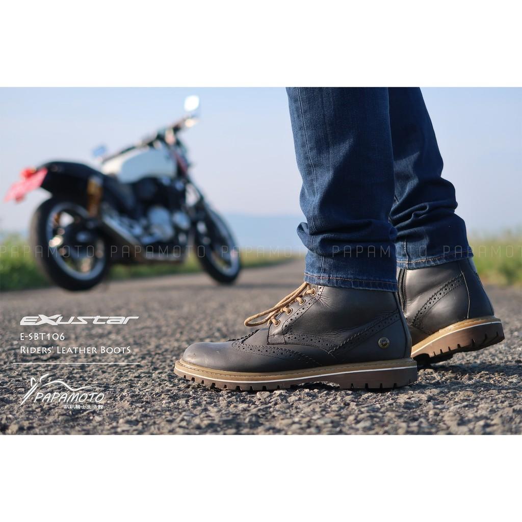 【趴趴騎士】Exustar E-SBT106 (復古黑) 騎士車靴 防摔車靴 Cafe Racer