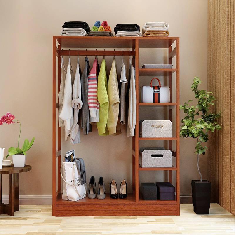 臥室衣帽架落地簡約現代實木掛衣架大容量衣服收納架多功能架家用