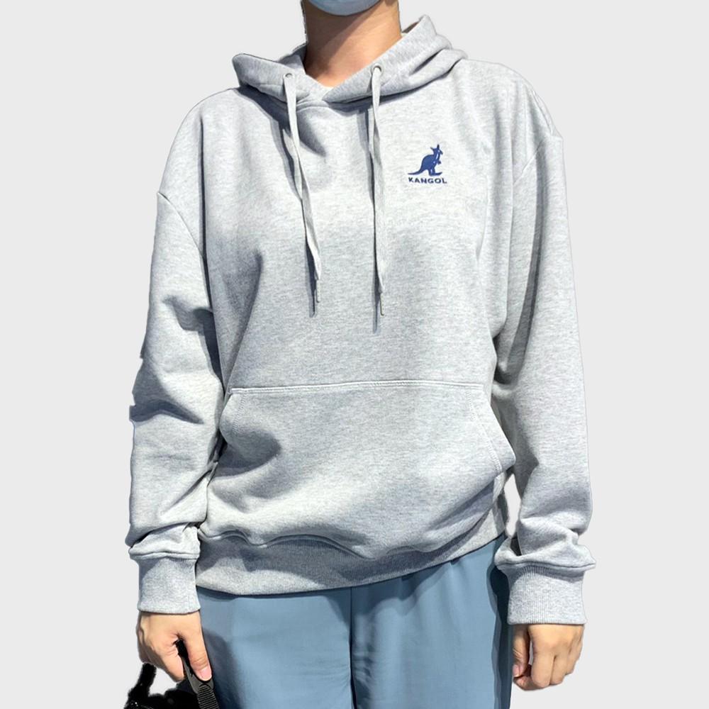 KANGOL 灰 男女 寬鬆 側邊LOGO 長袖帽T 6055106612