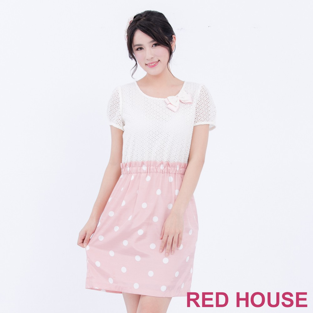 【RED HOUSE 蕾赫斯】蕾絲拼接波卡點點洋裝(粉紅色)