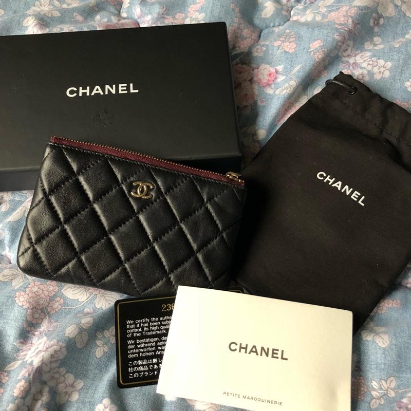 (已售)Chanel 一字黑羊皮淡金零錢包