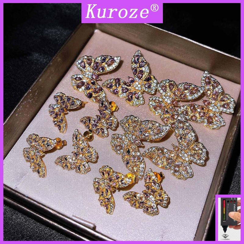 [GRA]時尚新款微鑲鑽石蝴蝶耳釘