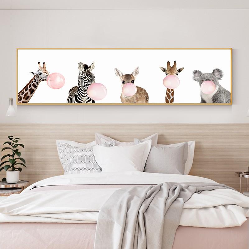 北歐兒童房裝飾畫可愛動物床頭掛畫男孩女孩臥室萌寵創意客廳壁畫`