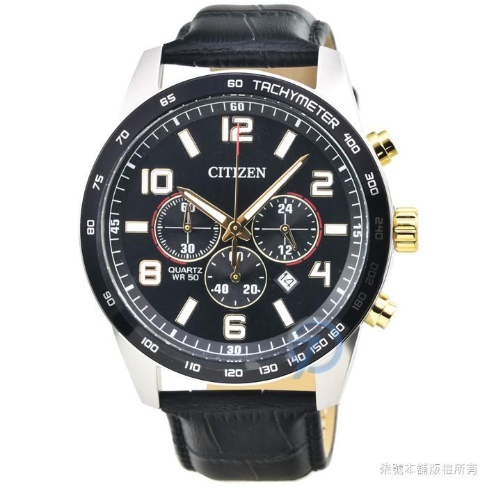 【CITIZEN】星辰三眼運動皮帶錶-黑面 / AN8166-05E