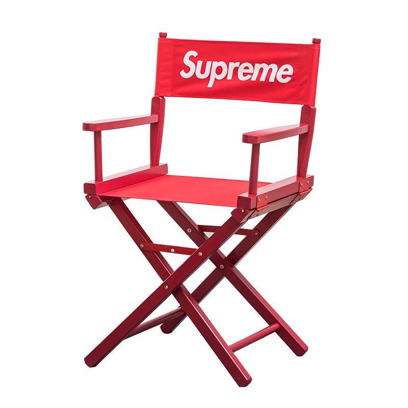 現貨秒發 Sup 折疊椅 導演椅 現貨Supreme  折疊椅 導演椅 SUP實木凳子拍照擺件帆布椅吧檯椅