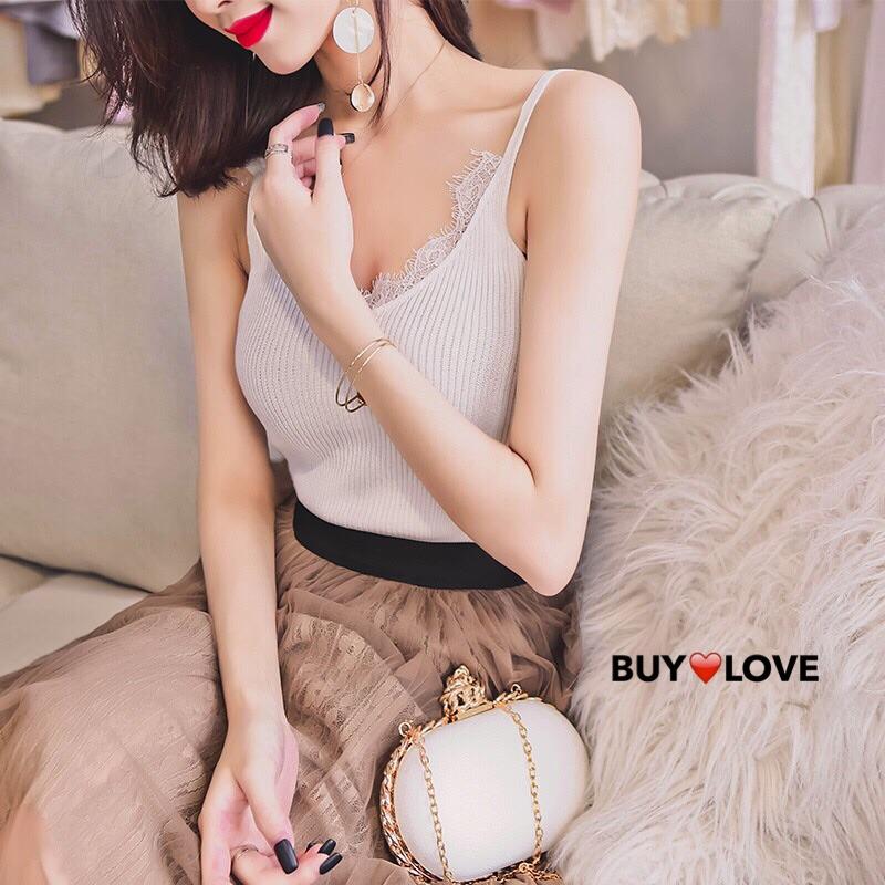 【買到戀愛】完售倒數 超顯瘦性感蕾絲針織棉螺紋細肩背心【M2120】