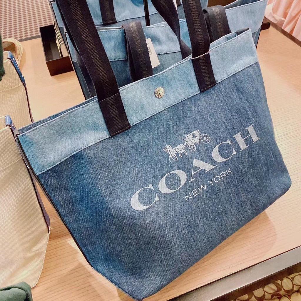 coach包包 COACH 91131 CANVAS系列 字母LOGO牛仔布托特包 手提包 單肩包 美國代購 附購證