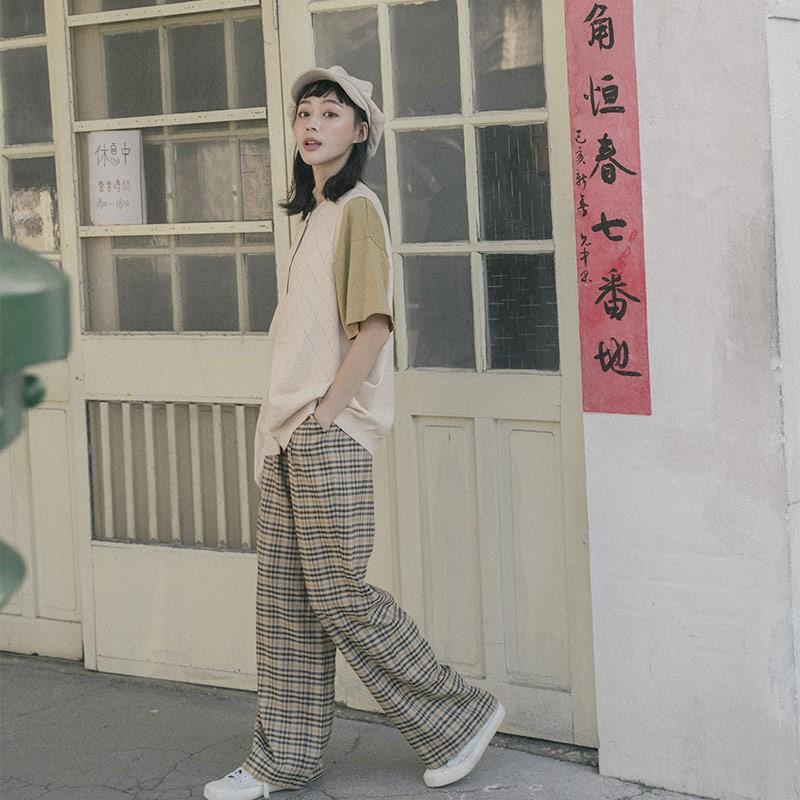 QUEENSHOP _S 復古小格紋打褶直筒西裝褲 S/M/L 現+預【04101534】