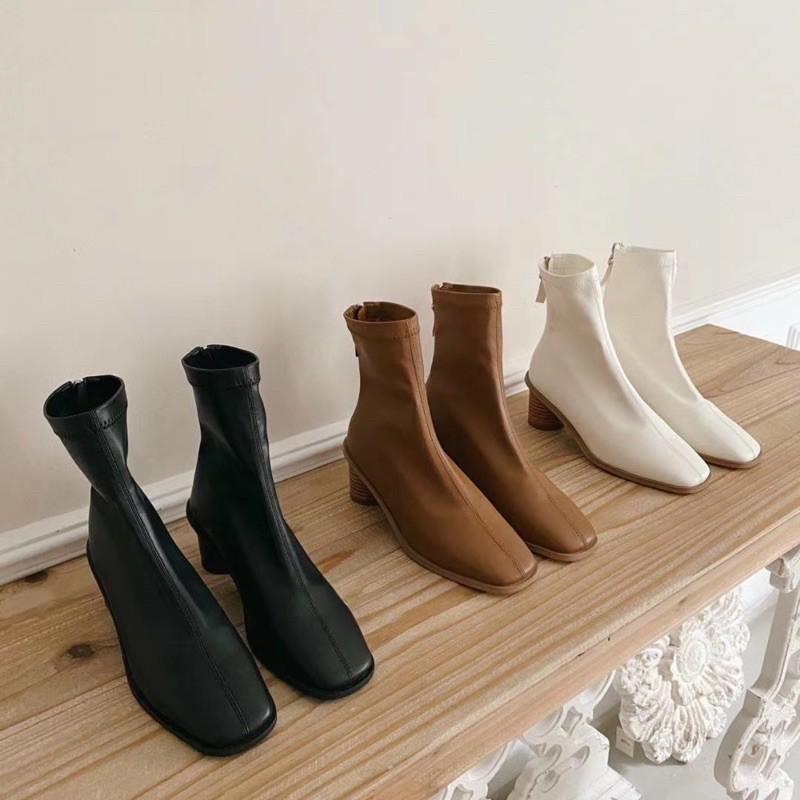 2020韓國東大門 真皮牛皮6cm中跟靴 很好穿 handmade Made in Korea