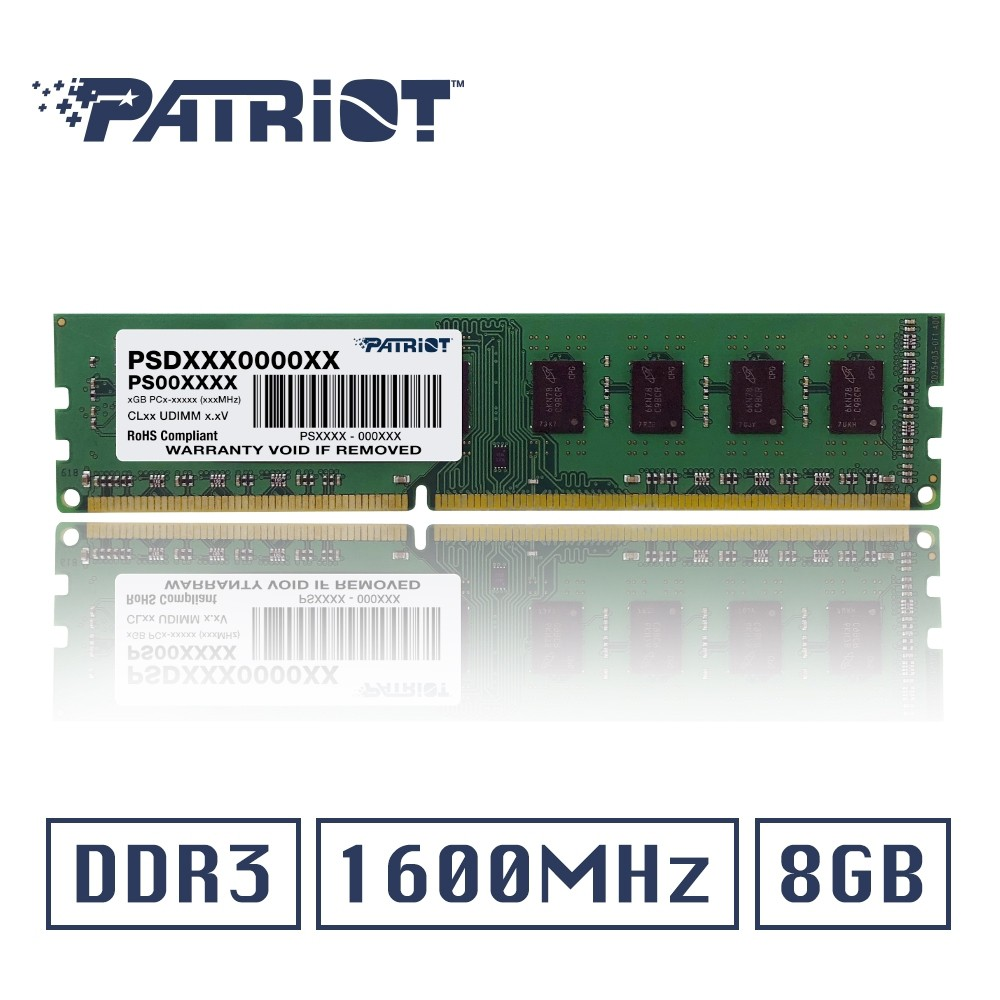 [現貨]Patriot美商博帝 DDR3 1600 8GB 桌上型記憶體(標準型)
