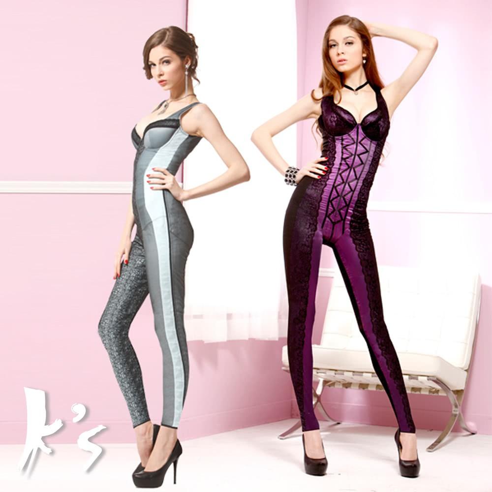 【K's凱恩絲】水晶網紗系列有罩杯連身至腳踝款塑身衣-超值3件組(多國專利認證)