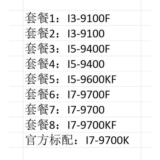 裝機精選~I3-9100F I5-9400F 9400 9600KF 9600K I7-9700KF 9700K I9-