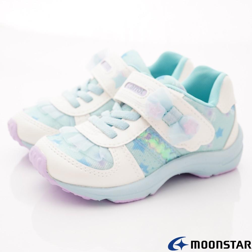 日本月星Moonstar機能童鞋Waga Mama系列寬楦蝴蝶結穩定抗菌鞋款22519淺藍(中小童段)15cm-零碼出清