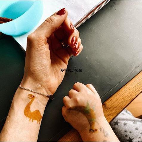 【熱銷】西班牙londji彩色紋身貼兒童卡通插畫貼紙10枚裝侏羅紀/公主/獅子