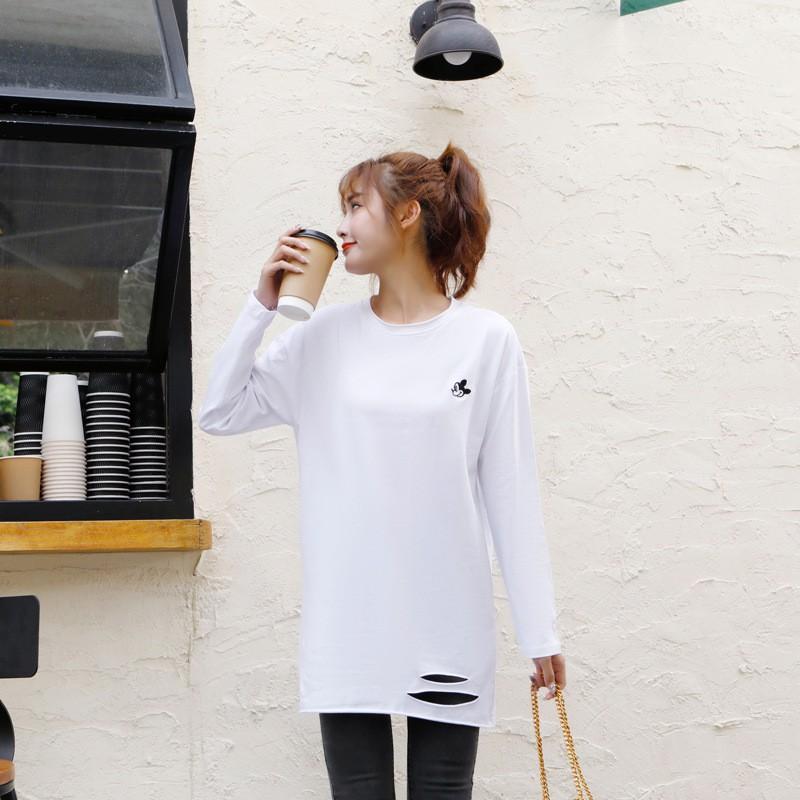 熱門促銷2021新款春季大碼女裝 寬松長袖T恤女中長款 圓領打底衫胖mm