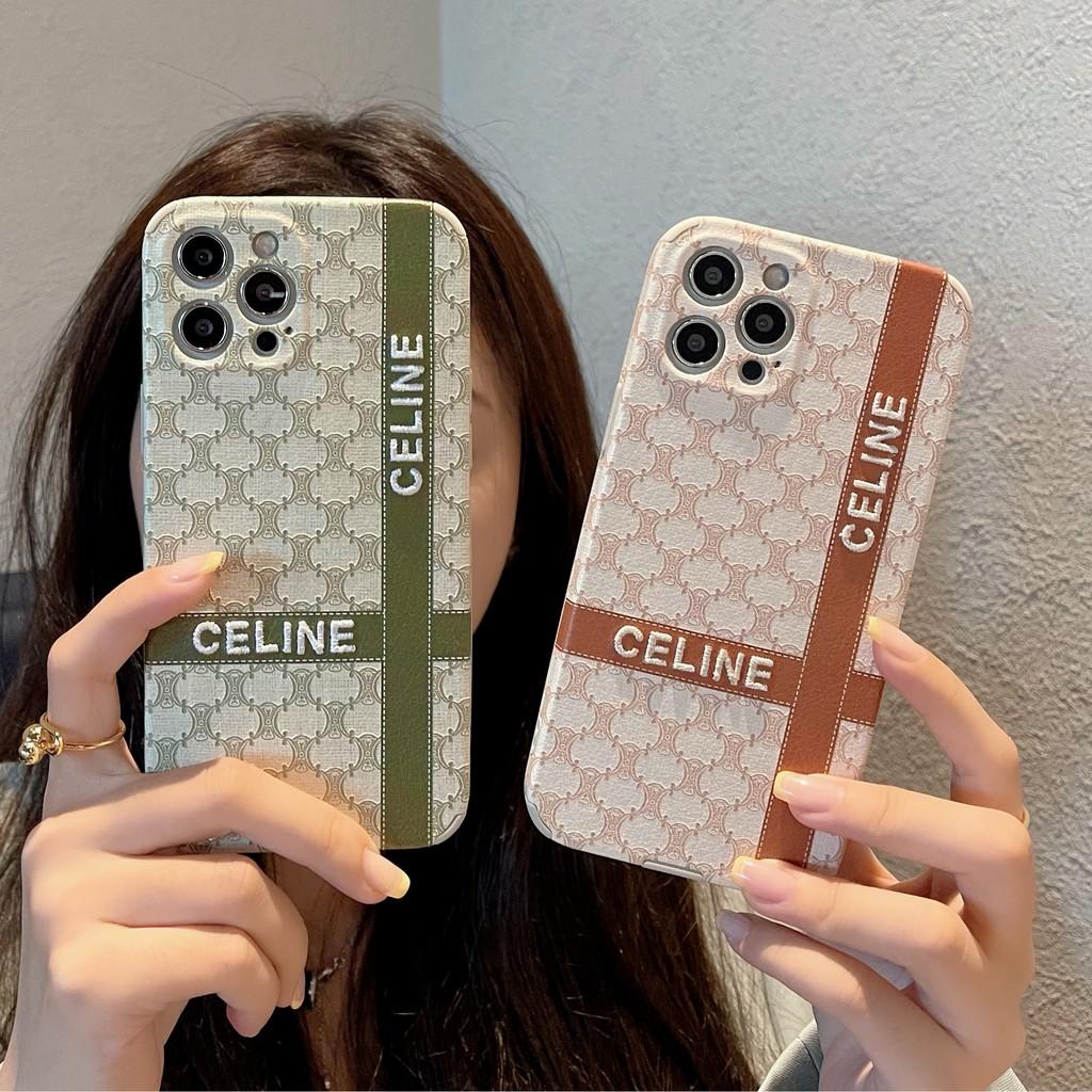 Celine 刺繡 皮質軟殼 賽琳 防摔手機殼 適用於 iphone 11 12 pro max XR I8 7P