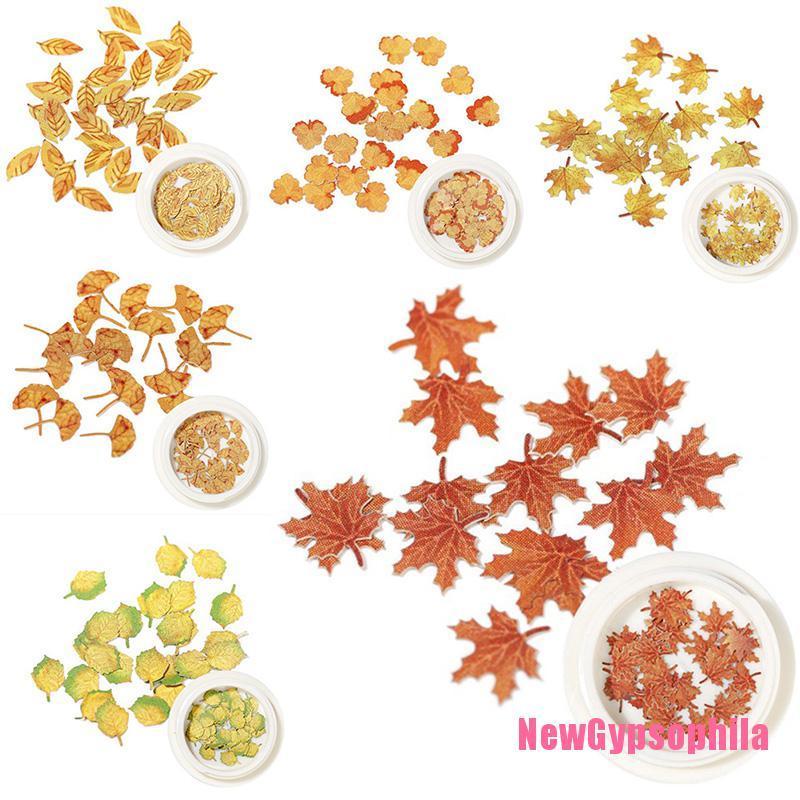 [Newgypsophila] 指甲楓葉貼紙 Diy 七彩葉子楓葉指甲膏