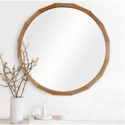 林子北歐實木化妝鏡浴室洗手間壁掛鏡客廳玄關裝飾圓鏡子梳妝化妝圓鏡