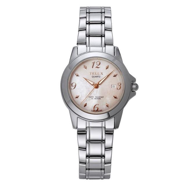 台灣品牌手錶腕錶【TELUX鐵力士】靚采女神腕錶30MM台灣製造石英錶7777W-SH鋼帶珍珠母貝