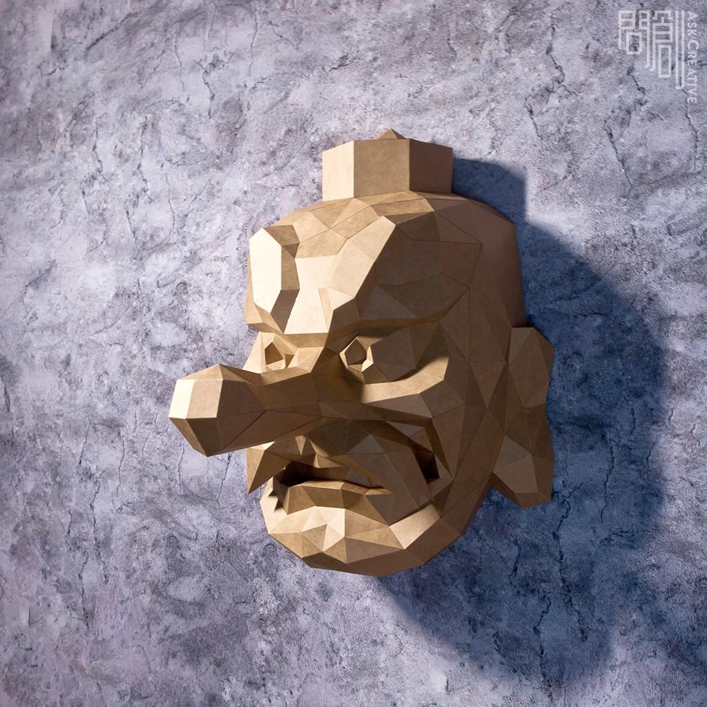 問創DIY手作3D紙模型 - 天狗面具壁飾