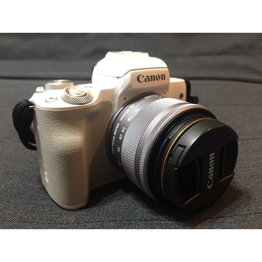 二手近全新 Canon eos m50 單眼相機 白色 佳能 附15-45mm鏡頭 單眼 相機