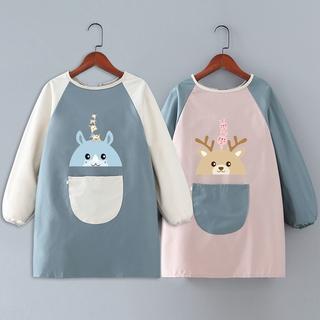 兒童防水圍裙定製logo印字寶寶吃飯長袖罩衣幼兒園中大童畫畫衣女