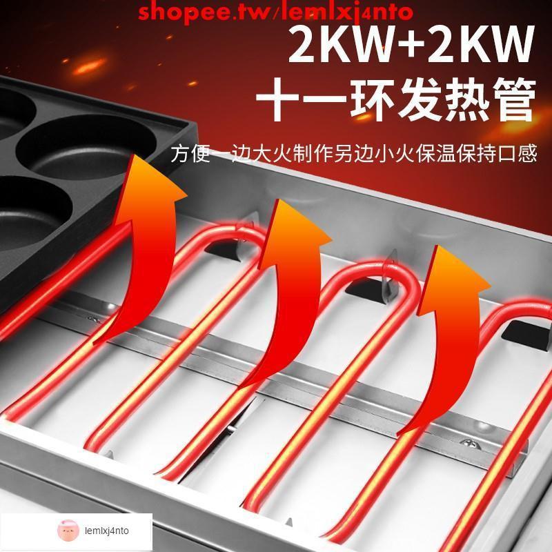 雞蛋漢堡機商用擺攤電熱車輪餅紅豆餅機章魚小丸子機煤氣款魚丸爐