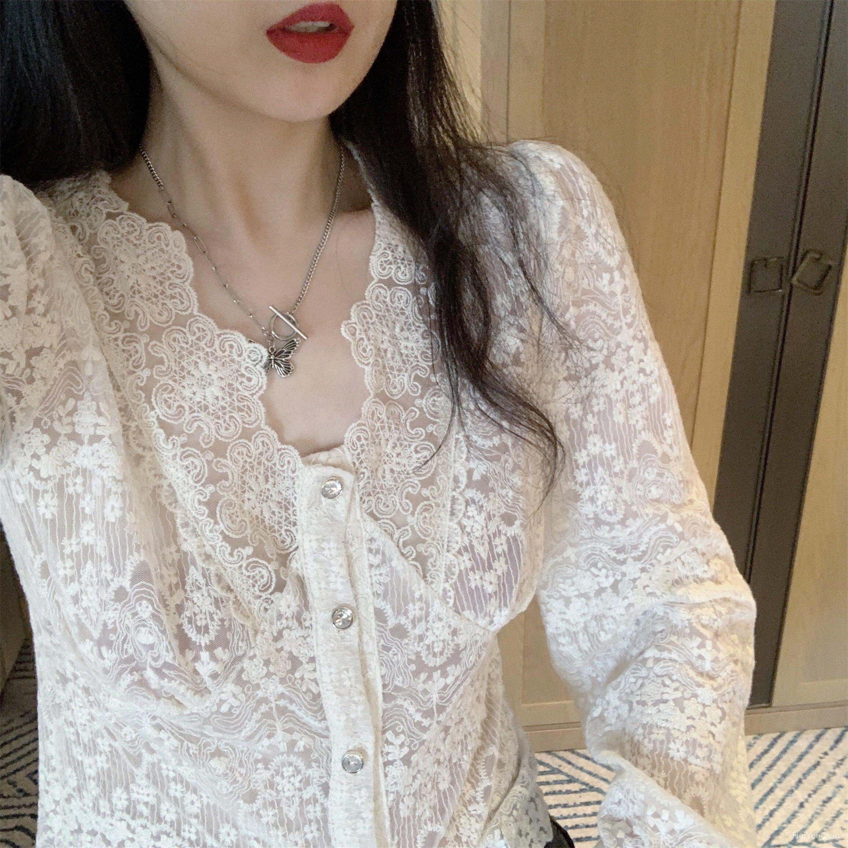 蕾絲打底衫女春季2021新款性感氣質韓版V領修身短款百搭長袖上衣