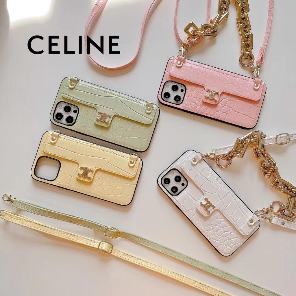 奢華大牌CELINE iPhone12 11 手機殼皮革掛繩手機殼 蘋果XR XSmax i7plus掛脖保護殼