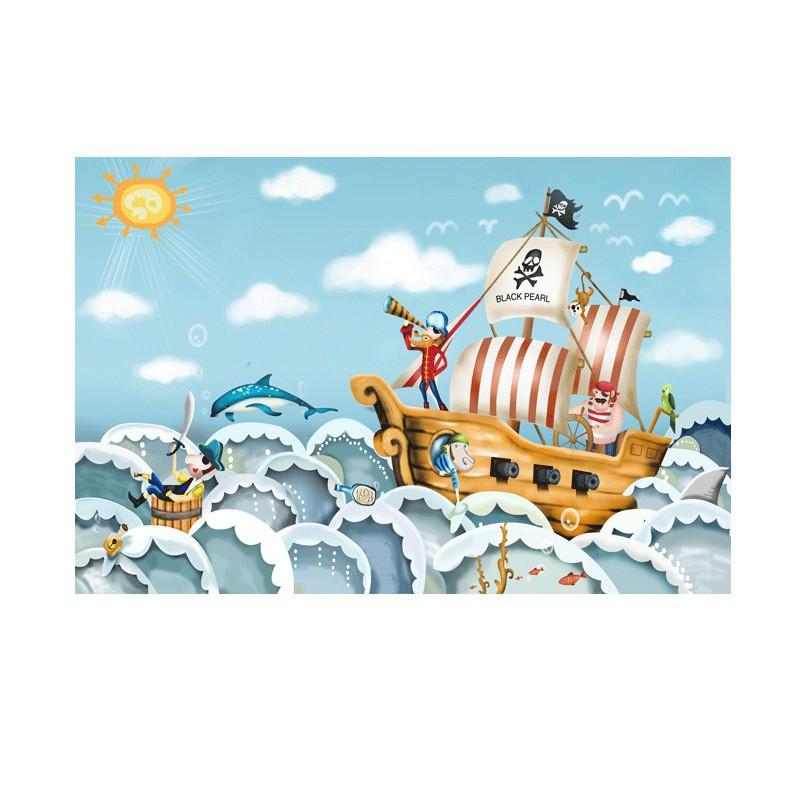 海洋小海盜船兒童房墻紙可愛女孩墻布公主房寶寶樂園壁紙臥室壁畫/可開超取