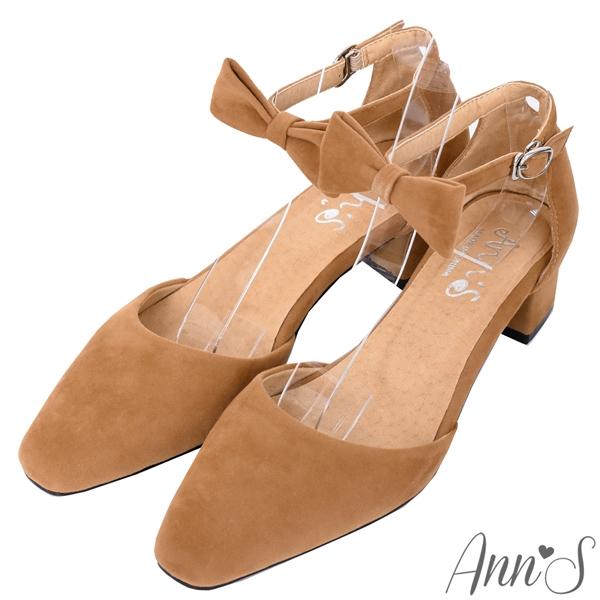 Ann'S甜美女孩-蝴蝶結可拆多WAY粗跟方頭跟鞋3.5cm-棕