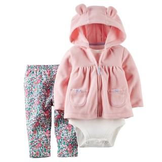[[W&R]] ((0-24m)) Carter's 三件組 粉色輕柔連帽外套+包屁衣+碎花長褲 24m 臺中市