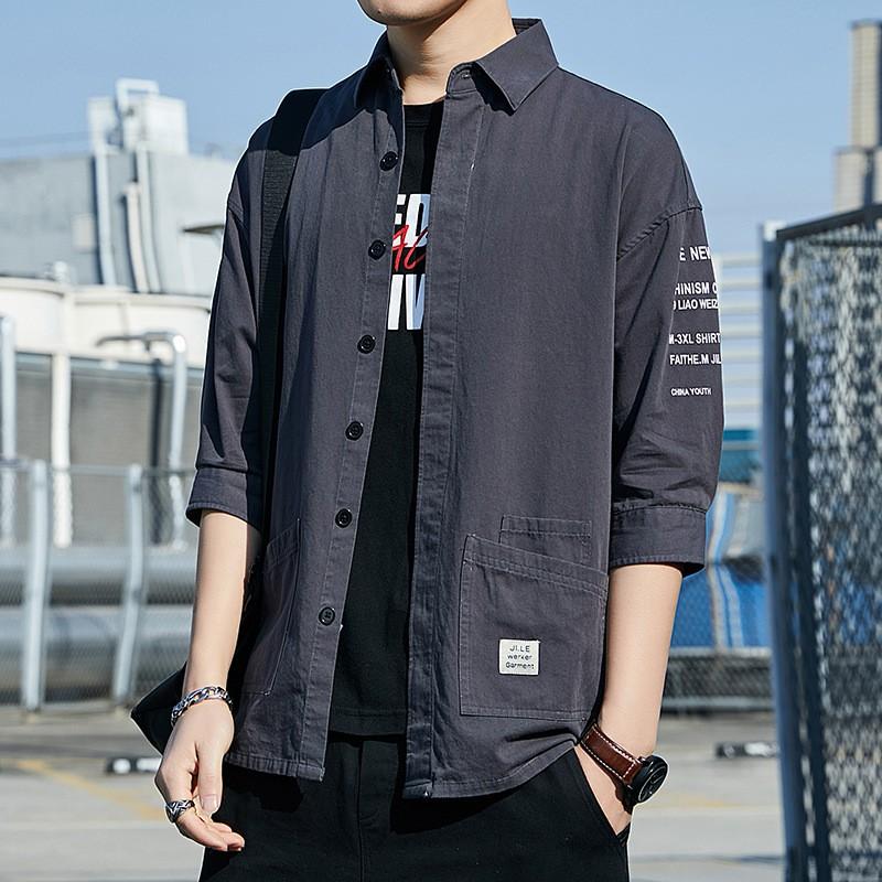 穩重東雨男裝日系復古中袖工裝優質潮流襯衫 全棉寬松男士襯衣2020夏季新t