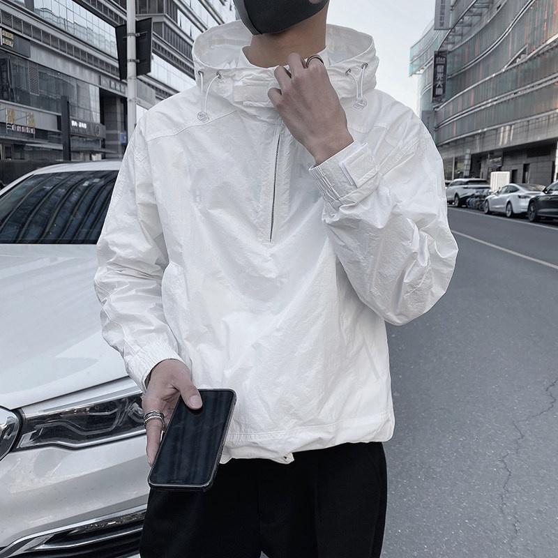 (防疫)夏季男連帽修身潮流個性薄款運動夾克個性純色百搭ins防曬服外套20210814