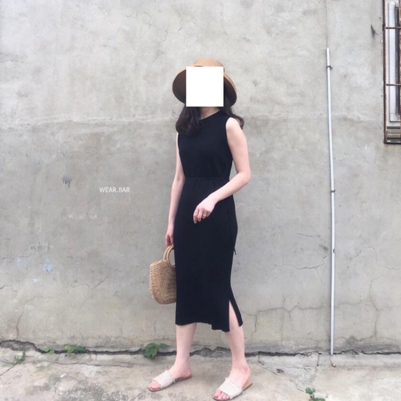 轉賣 wear.bar 針織無袖綁線長洋裝 黑色