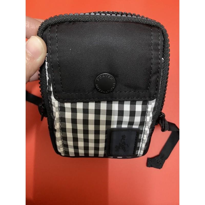 正品 Porter黑白條紋掛腰包