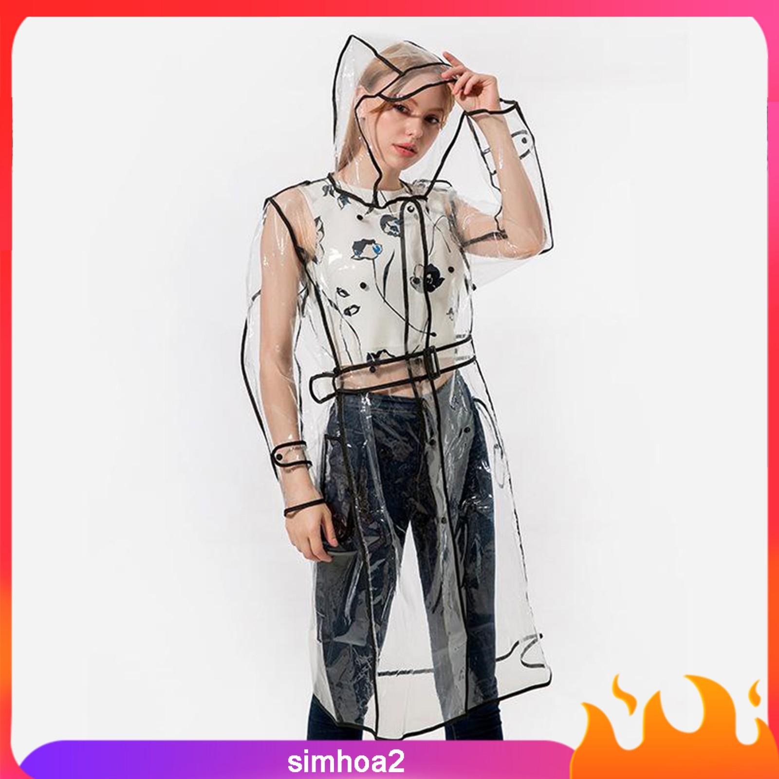 [Simhoa2] 女士女孩透明透明防水雨衣雨披外套風衣