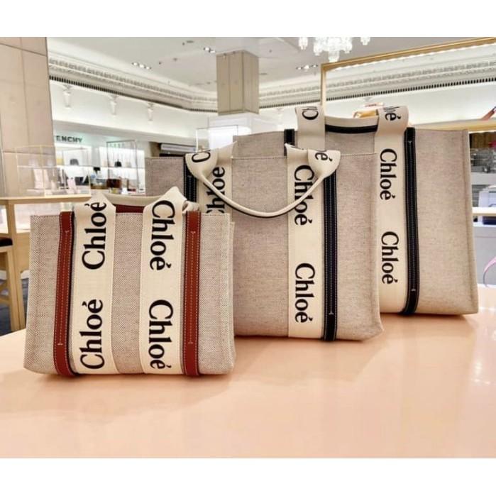 Chloe 爆款 字母 Woody Tote Bag 帆布 購物包 托特包 中型 深藍色CHC21US383E6691J