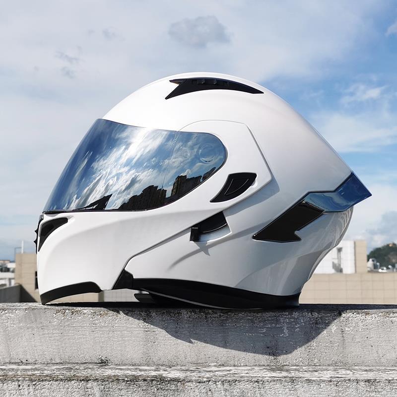 安全ஐ ﻬღOrz電動摩托車頭盔男揭面盔雙鏡片半盔安全帽個性四季機車頭灰女ஐ ﻬS1A2