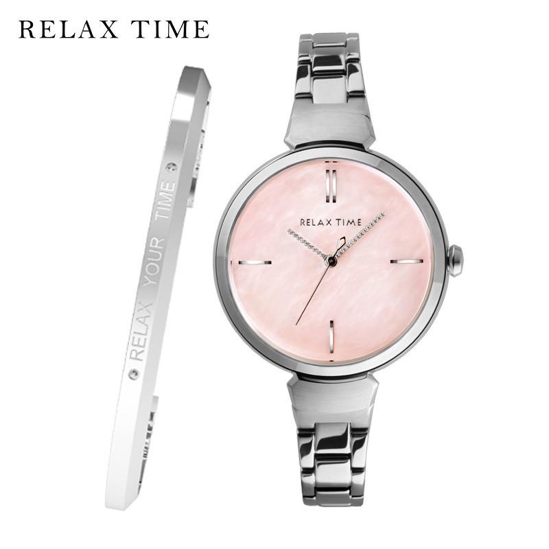RELAX TIME (RT-68-7)閃耀系列/台灣精品/36mm/銀x粉色貝殼【加碼贈手環】第一鐘錶眼鏡